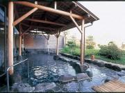 【露天風呂】野趣あふれる空間で、庭園を眺めなが...