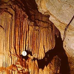 玉簾の滝 神秘な石の芸術が、幾万年の歳月を費やして、このようなものをつくりました。小さな玉を綴り合...